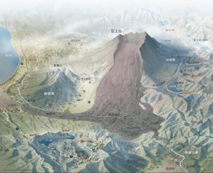 富士山の山体崩壊予想図