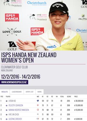 ISPSハンダ・ニュージーランド女子オープン結果