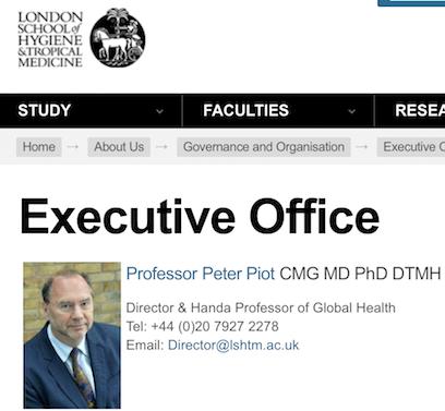 ロンドン大学衛生熱帯医学大学学長ピーター・ピオット博士